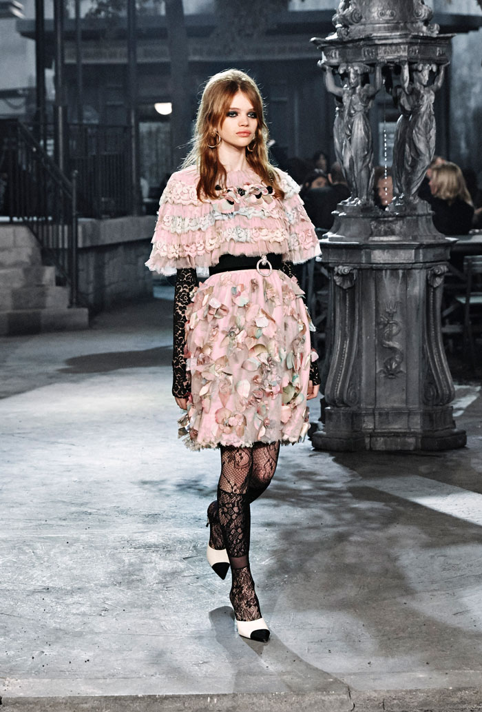 Chanel Metiers d'Art 2015 Paris in Rome patchwork flower petal dress