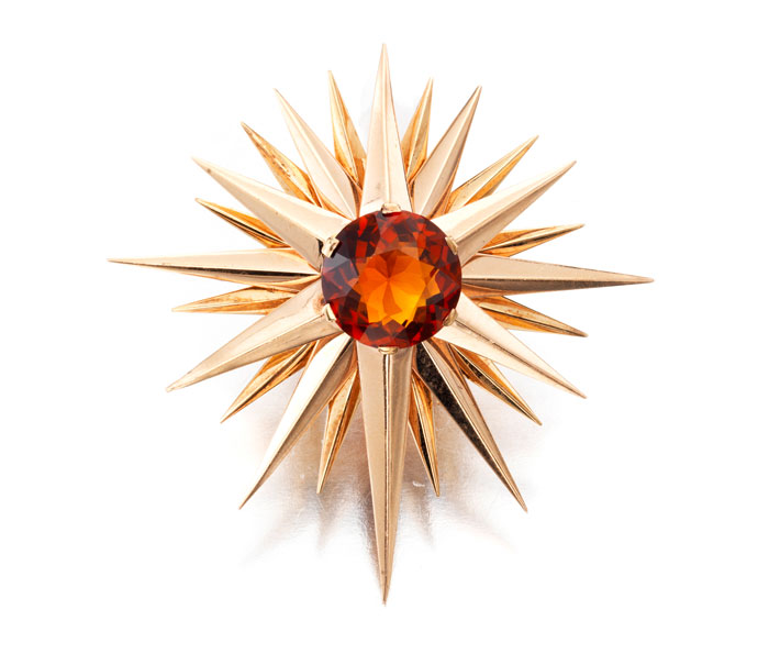 A citrine and gold brooch by Verdura on auction by Bonhams New York