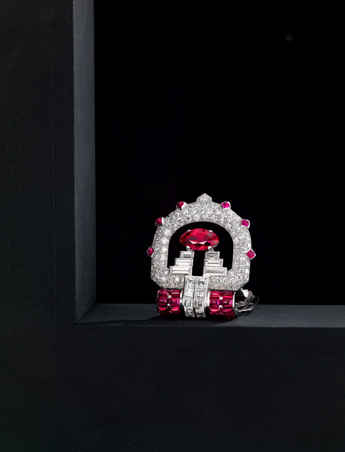Cartier diamond and ruby brooch on auction by Bonhams New York