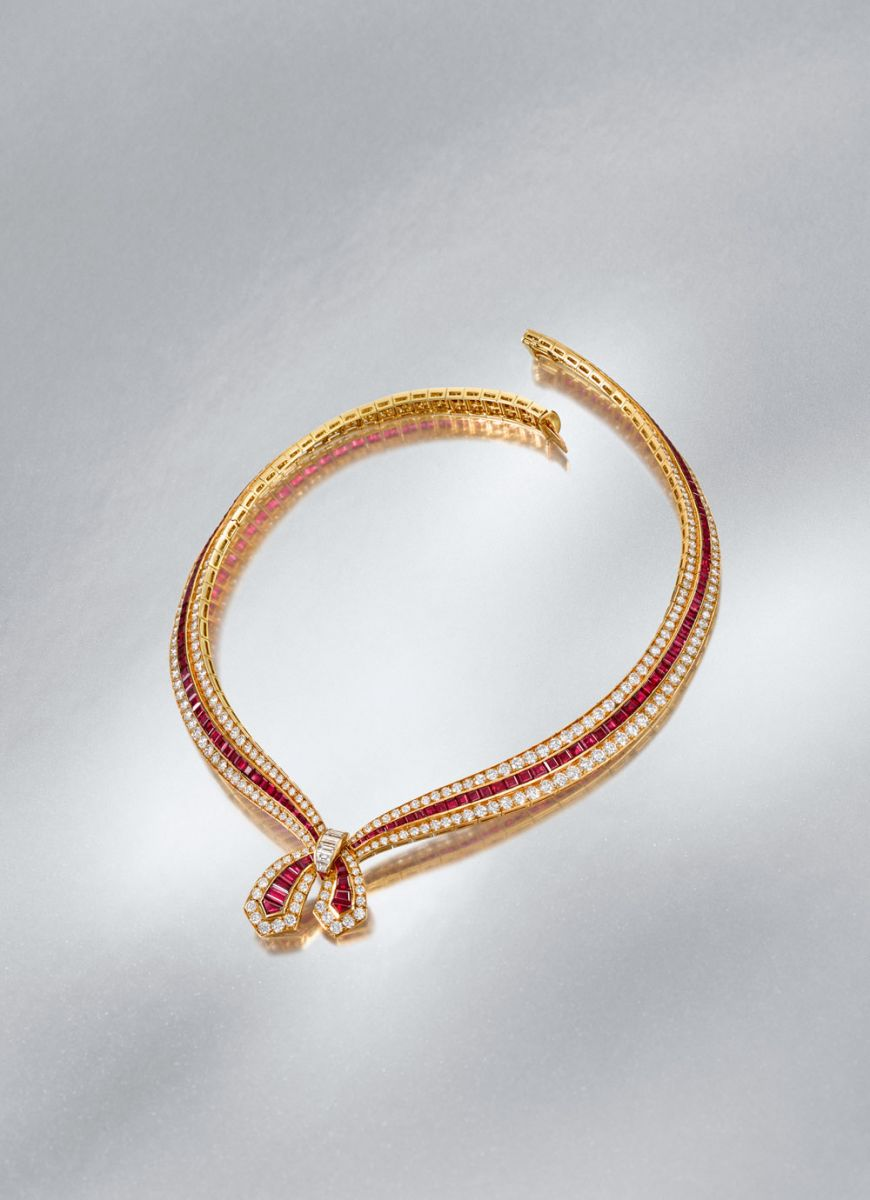 A ruby and diamond necklace by Van Cleef & Arpels