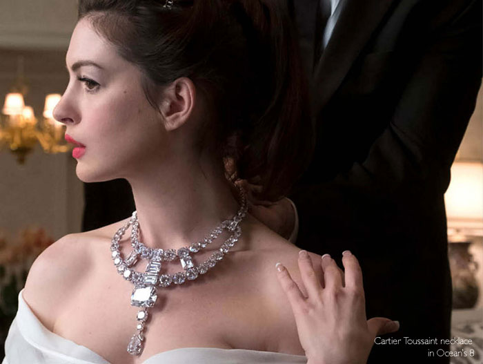 Anne Hathaway with Cartier Toussaint necklace in Ocean's 8