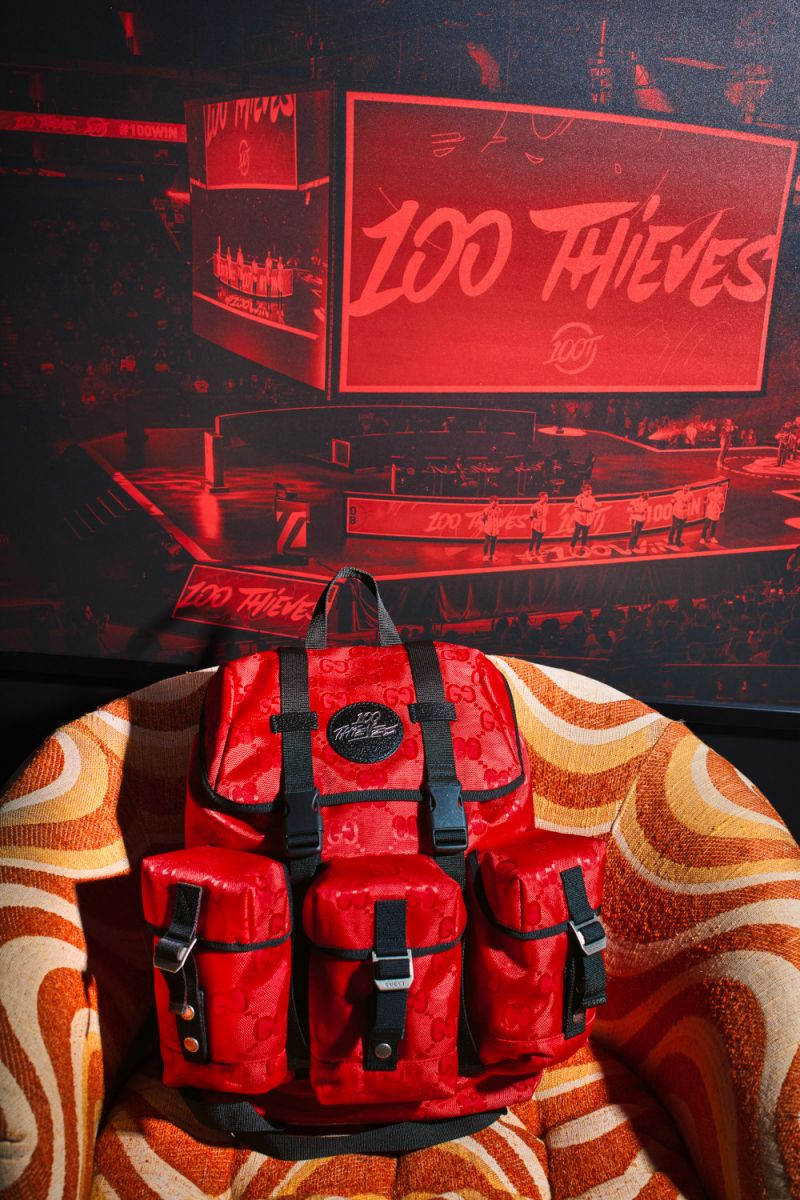Gucci X 100 Thieves red backpack