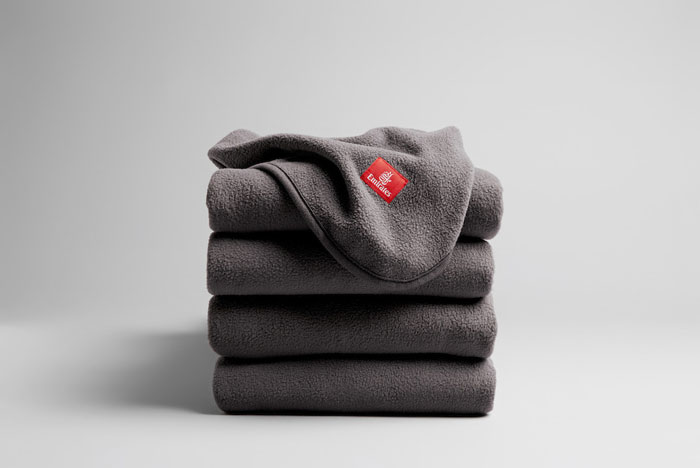 Emirates eco friendly blankets made from recycled plastic bottles
