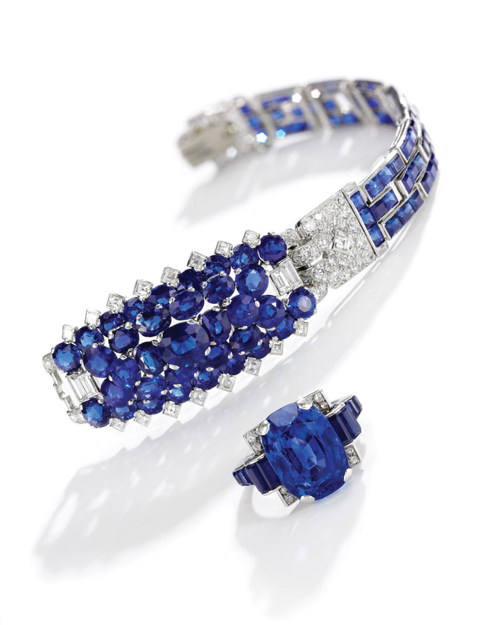 Cartier Sapphire bracelet and ring on auction by Sotheby's London