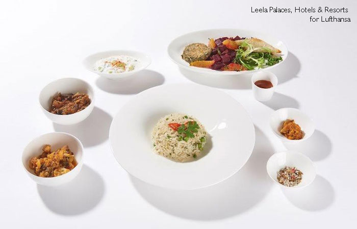 Lufthansa First Class meal with Leela Palaces Hotels and Resorts