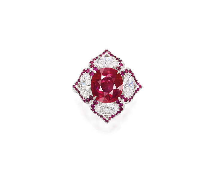 Ruby diamond ring for auction